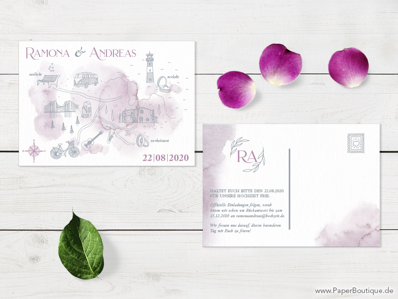 Elegante Save-the-Date in Aquarell
