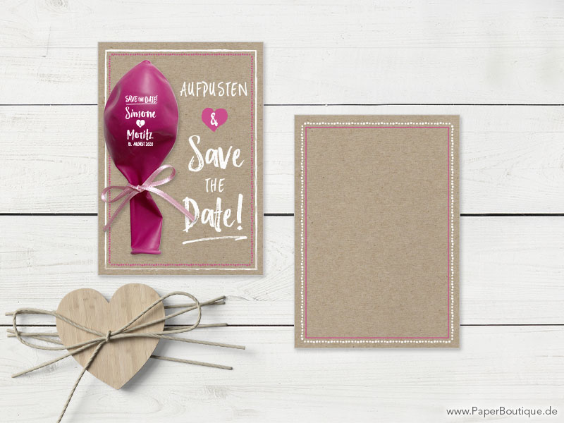 Save-the-Date individuell mit Luftballon