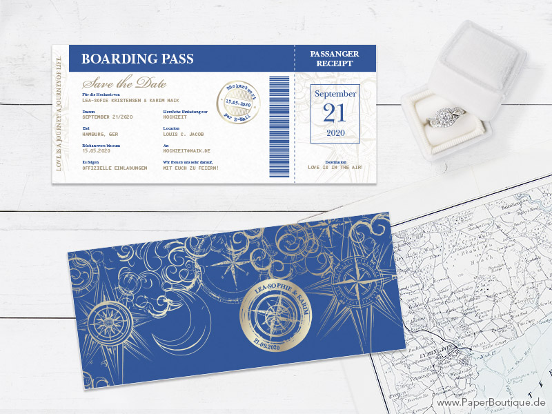Save-the-Date mit Stempel als Boarding Pass